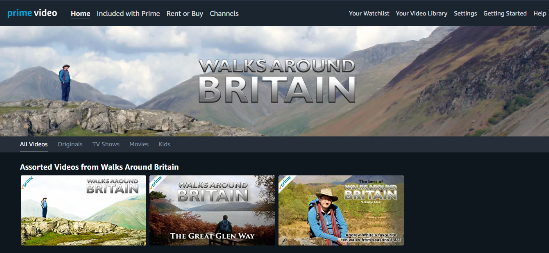 Walks Around Britain available on Amazon's Prime Video